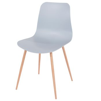 Aspen Grey Plastic Chair, Wood Effect Metal Legs (sold In Pairs) ASCH7G