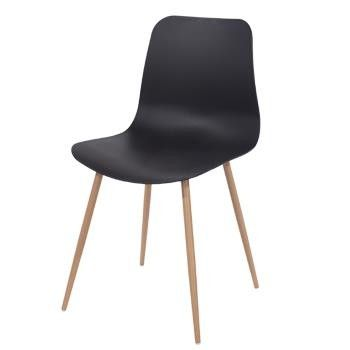 Aspen Black Plastic Chair, Wood Effect Metal Legs (sold in pairs) ASCH7B