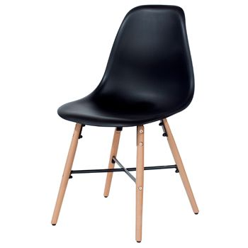 Aspen Black Plastic Chair, Wooden Legs, Metal Cross Rails (sold in pairs) ASCH6B