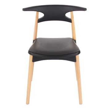 Aspen Black Plastic Chair, Wooden Legs (sold in pairs) ASCH4B