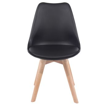 Aspen black upholstered plastic chair, wood legs (sold in pairs) ASCH2B