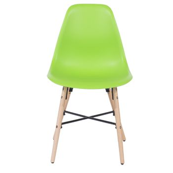 Aspen green plastic chair, wood legs, metal cross rails (sold in pairs) ASCH6GN