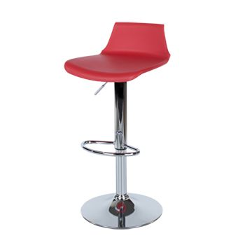 Aspen red plastic bar stool, chrome effect leg (sold in pairs) ASBS2R