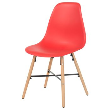 Aspen red plastic chair, wood legs, metal cross rails (sold in pairs) ASCH6R