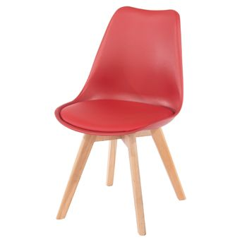 Aspen red upholstered plastic chair, wood legs (sold in pairs) ASCH2R