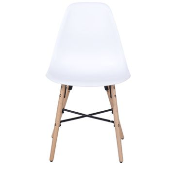 Aspen white plastic chair, wood legs, metal cross rails (sold in pairs) ASCH6W
