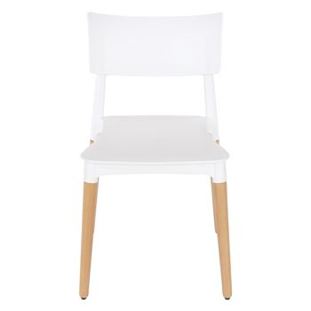 Aspen white plastic chair, wood legs (sold in pairs) ASCH3W