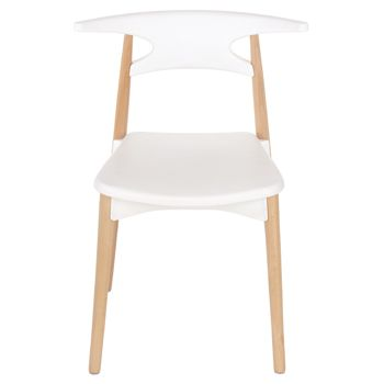 Aspen white plastic chair, wood legs (sold in pairs) ASCH4W