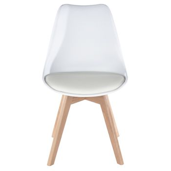 Aspen white upholstered plastic chair, wood legs (sold in pairs) ASCH2W
