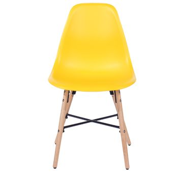 Aspen yellow plastic chair, wood legs, metal cross rails (sold in pairs) ASCH6Y