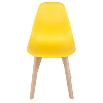 Aspen yellow plastic chair, wood legs (sold in pairs) ASCH5Y